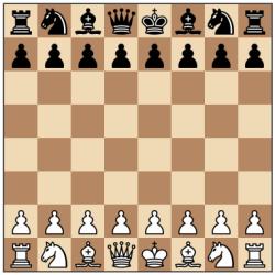 Susunan awal bidak catur.